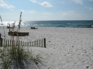 The white sands and green waters of Pensacola.
