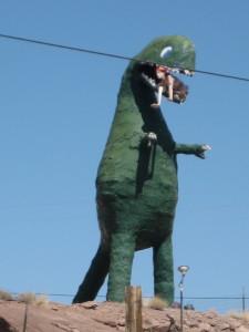 Dinosaurs eating people.