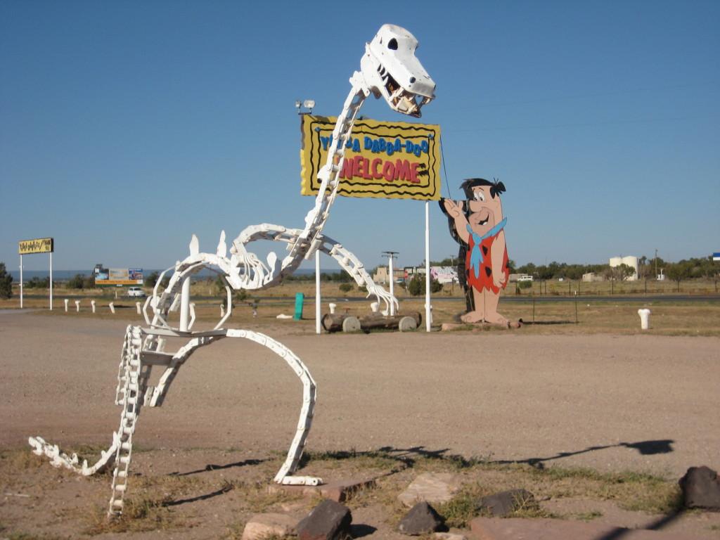 Cartoon dinosaurs and campgrounds.