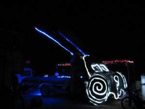 Glowing rabbit car.