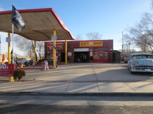 Gas stations with old cars....
