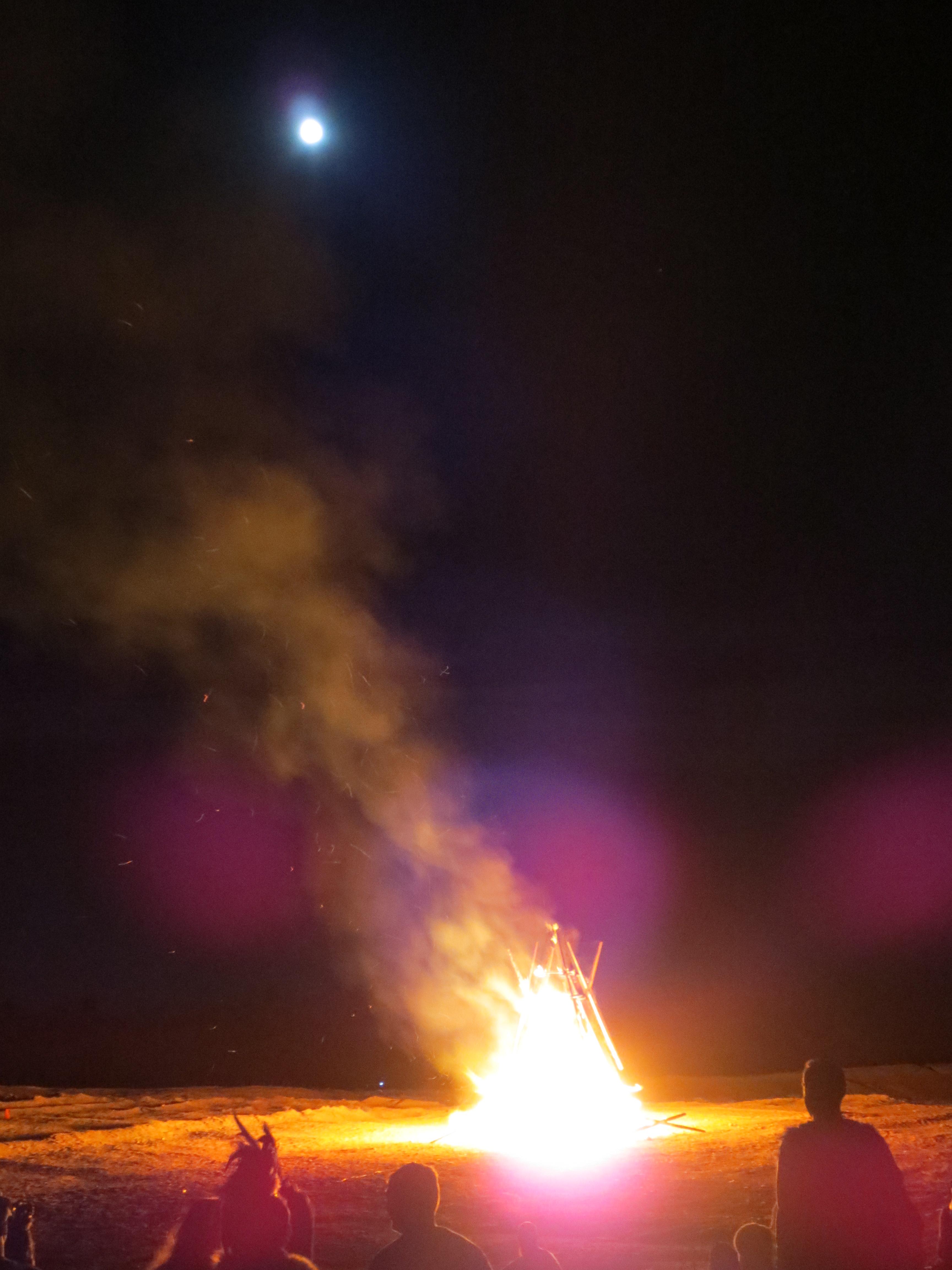Burning by moonlight.